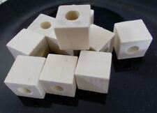 40pcs x 20mm WOODEN CUBE Square Beads - Unpainted Natural (LARGE HOLE 9mm ) B30