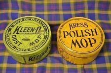 """2 Vitg 6""""Tins-KLEEN-O Dust Mop(Milwaukee1922)& KRESS POLISH MOP- Heekin Can Co"""