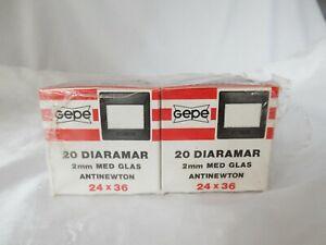 40 GEPE Slide Mounts ANTINEWTON 2mm with GLASSES  24x36 2 x BOXES x 20 DIARAMAR