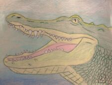 """Alligator Head"" 8x10 Drawing On Gray Acid Free Drawing Paper."