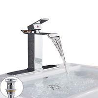 Single Handle Waterfall Bathroom Vanity Sink Faucet Rectangular Spout Chrome Mix