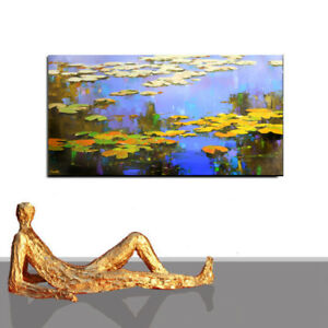 PAINTING LARGE # ABSTRACT BLUE WATER LILY ORIGINAL FLOWER  ART LUXURY * 63 x 31