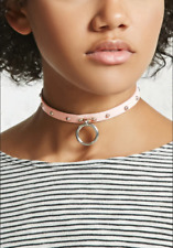 Forever 21 O-ring Studded Faux Leather Choker Collar Pink O BDSM Slave Necklace