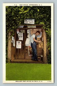 Grimshawes NC, Post Office, Linen North Carolina Postcard