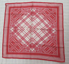 Silk vintage scarf Red and White 26'' long x 26'' made in Italy washable