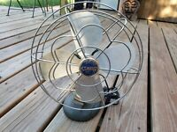 Vintage Oscillating Eskimo Metal Desk Fan Model 1005R Cage McGraw Elec. Works!