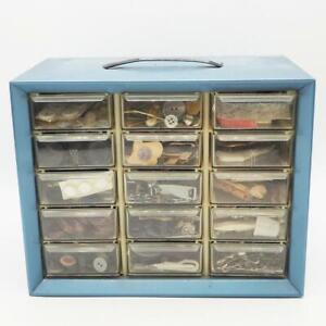Vintage 15 Drawer Organizer Box Filled w/ Sewing Notions