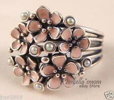 CHERRY BLOSSOM BOUQUET Genuine PANDORA Silver PINK ENAMEL Flower PEARL Ring 5/50