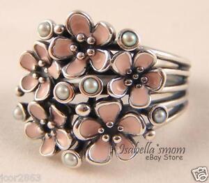 Pandora CHERRY BLOSSOM BOUQUET Pink ENAMEL Flower PEARL Ring 7/54 190878EN40 NEW
