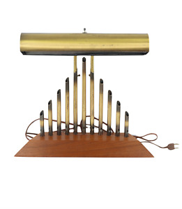 Vtg 60s Mid Century Modern MCM Brass Wood Adjustable Organ Pipe Table Lamp Light