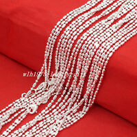 "Wholesale Lots 5Pcs 925 Sterling Solid Silver Bar & Bead Chain Necklace 16""-30"""