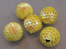 5 Yellow Sequins 22x20mm  Acrylic Beads(WF6E)