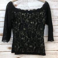 MODA International Black Lace Feminine Blouse Size Small