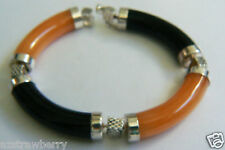 STERLING SILVER BLACK ONYX & HONEY JADE BANGLE BRACELET