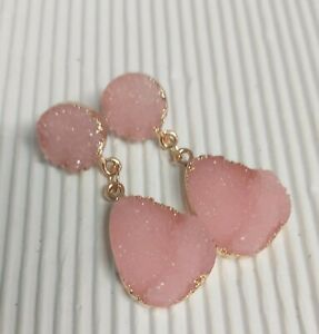 Gold Tone Light Pink Resin Stud/Drop Earrings