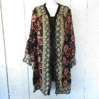 New Angie Kimono 2X Black Floral Boho Peasant Cardigan Plus Size Bell Sleeve