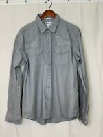 BKE Men's Gray White 100% Cotton Pearl Snap Casual Western Shirt Slim Fit XL