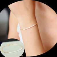 New Fashion Women Elegant Gold Pearl Bead Handmade Chain Bangle Bracelet Jewelry