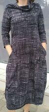 Langes Kleid Rundholz Gr.L  schwarzweiss gemustert 3/4 Arm Taschen  neu
