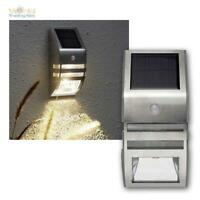 LED Solar Wandleuchte mi Bewegungsmelder 50 Lumen Dämmerungssensor Edelstahl PIR