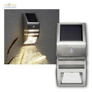 LED Solar Wall Light Mi Motion Sensor 50 Lumens Twilight Stainless Steel Pir