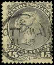 Canada #29 used VG-F 1868 Queen Victoria 15c grey violet Large Queen SON CDS