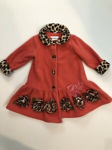 Bonnie Baby Girls Long Coat Pink Coral Leopard Size 24 Months Snap Up