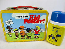 Vintage 1973 Wee Pals Kid Power! metal lunch box & plastic Thermos