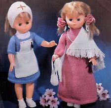 "Vintage Knitting Pattern 18"" Dolls Nurse & Long Dress Shawl Bag & Hair Band L621"