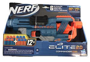 NERF Elite 2.0 Commander RD-6 Blaster 12 Official Darts 6-Dart Rotating Drum