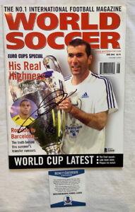 Zinedine Zidane signed World Soccer magazine Real Madrid Beckett BAS