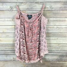 Angie Women's Knit Top Small Pink Floral Crochet Cold Shoulder