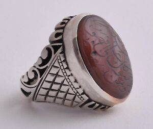 Islamic 925 sterling Silver agate aqeeq aqiq Men Ring-yemen-yemeni-DHL