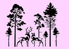 Schablone**  Bäume, Wald, Hirsch, Reh  **A4**für Stoffe, Möbel usw.- ** Nr.: 557