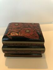 Hand Painted Wooden Box 3� X 2.5�x 2�