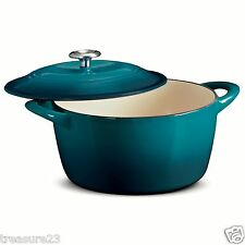 Tramontina Enameled Cast Iron 6.5 Qt. Covered Round Dutch Oven TEAL