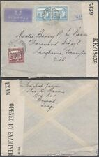Palestine WWII 1945 - Cover to USA - Censor 10000/102