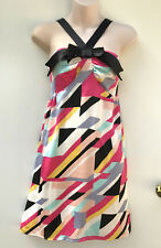 COOPER ST Polyester Satin Colourful Geo Party / Formal / Evening Bow Dress sz 10