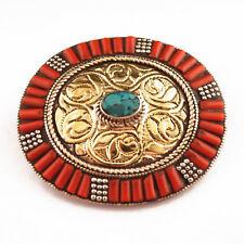 Turquoise Coral Brass Belt Buckle Tibetan Nepalese Handmade Tibet Nepal BK105