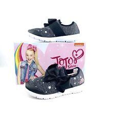 New JoJo Siwa Black Slip-on Sneakers Stars Big Bow Size 4