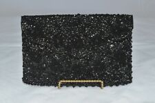 Jet Black beaded evening clutch floral medallions on satin bag with vine motif