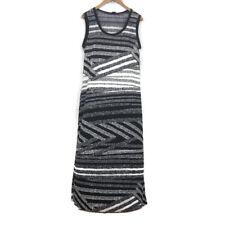 $59 Sunny Taylor Petite Women's Maxi Dress Size PL Black White Striped Geometric