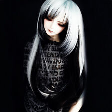 "BJD Doll Hair Wig 8-9"" 1/3 SD DZ DOD LUTS White Black Long Straight Cosplay Wig"