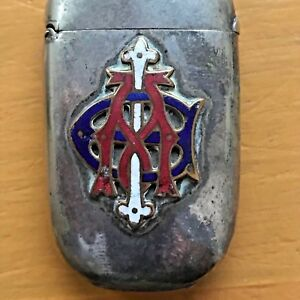 Antique Silver Enamelled Vesta Match Stick Holder