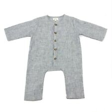 The Simple Folk One Piece Romper Baby 3-6M Gray Buttons Organic Linen Jumpsuit
