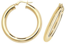 9CT GOLD HOOP EARRINGS ROUND CREOLE PLAIN POLISHED TUBE SLEEPERS LOOPS GIFT BOX