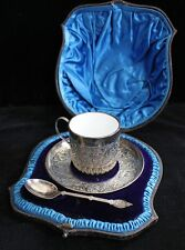Monogrammed 1888 London Sterling Ceramic Lined Christening Cup & Spoon Set