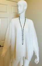 ESKANDAR CREAM OFF WHITE 100%  CASHMERE SWEATER TEXTURED NEW WITH TAGS OS