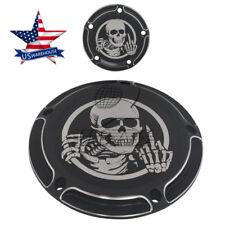 US Skull Five Holes Edge Cut Derby Timing Timer Cover for Harley FXSB FLHR  FLHT