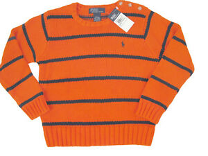 NEW Polo Ralph Lauren Striped Boys Crewneck Sweater!  4  Orange Stripe